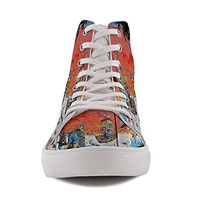 HIGHFIELD Unisex Active Blue Man Graffiti Canvas Shoe High Top Sneaker G112348