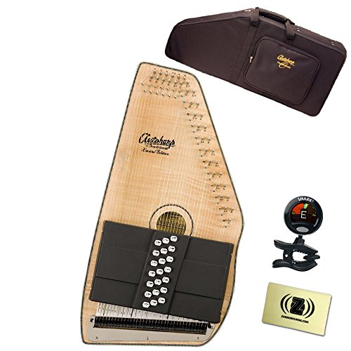 Oscar Schmidt OS110-21FNE 21 Chord Flame Maple Autoharp with Fine Tuning System Bundle - Includes Semi-Hardshell Backpack Case, Tuner, and Polishing Cloth - Natural by Oscar Schmidt