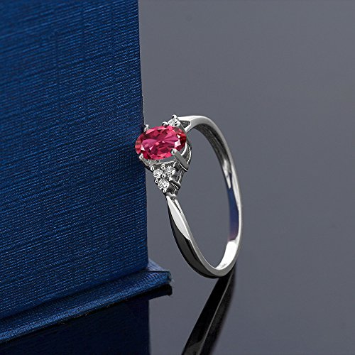 Gem Stone King 14K White Gold Pink Tourmaline and Diamond Women s Ring 0.56 cttw Available 5,6,7,8,9