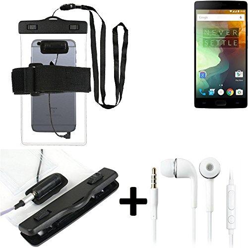 Estuche estanco al agua con entrada de auriculares para Alcatel One Touch Idol 2 Mini Dual SIM + auricular incluido, transparente | Trotar bolsa de playa al aire libre caja brazalete del teléfono caso
