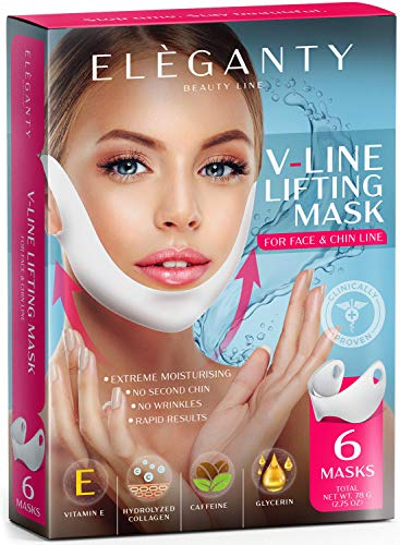 Eleganty V-line Lifting Mask 6pcs Pack Double Chin Reducer Face Contour Neck Jaw Lifting Gel Patch Wrinkle Anti Aging Skin Care Collagen Chin Up Firming and Slimming Treatment for Women and Men