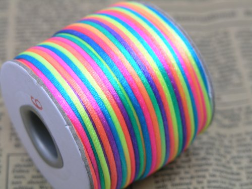 (KONMAY 2 Rolls/100 Yards 2.0mm Eco-friendly Rainbow/Neon Bugtail Satin Silk Cord Macrame Beading Nylon Kumihimo String)