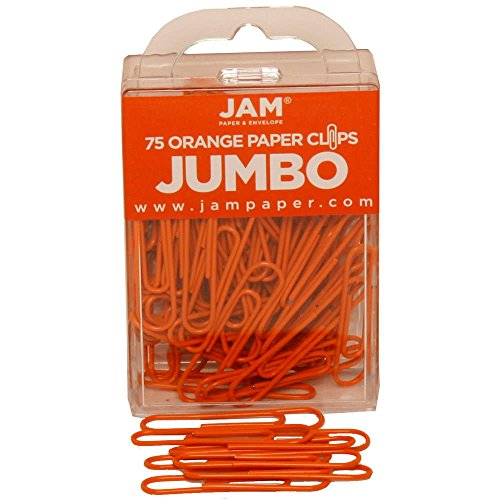 JAM Paper Colored Jumbo Paper Clips - Orange Paperclips - 75/pack