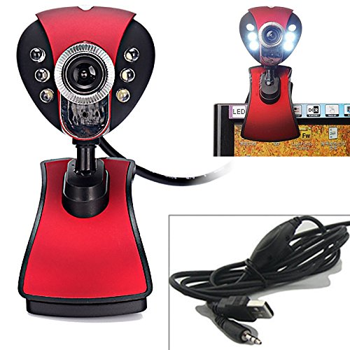 HDE 12 Megapixel Webcam USB Online Camera with Microphone and 6 LEDs for Video Conferencing (Red)