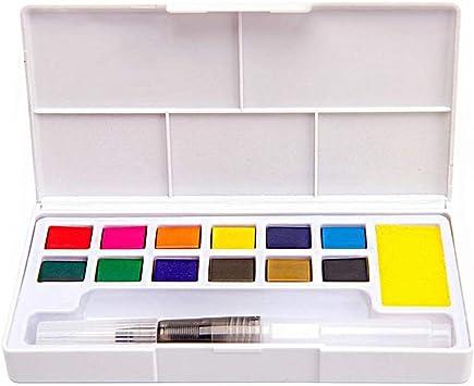 Xkfgcm Bloques de Acuarela de 12 Colores Estuche Acuarelas Multicolor Set de Pintura de Acuarelas Compuesto