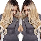 Royalfirst Brazilian Virgin Glueless Lace Front Human Hair Wigs for Black Women Wavy Lace Wig with Baby Hair Bleached Knots Natural Hairline 2/24 Ombre Blonde Color 130% Density 20 inch