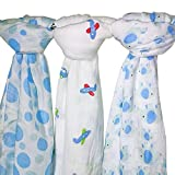 """Baby Cloth, Swaddle Blanket & Nursing Cover Set - 3 pack Large 47"""" x 47"""" - Muslin Cotton - Baby Shower Gifts - BabyBamboo"""
