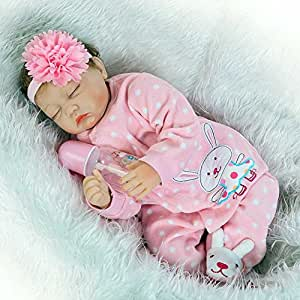 Realista Bebé Reborn Silicona Vinilo Muñeca Ojo Cerrado 55 cm Vestir de Rosa