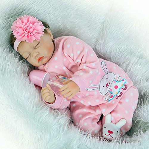 Real Looking Sleeping Reborn Baby Doll Girl Silicone Pink 22 Inches
