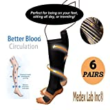 Medex Lab Bundle Pack of Compression Copper Socks: Calves High Copper Compression Socks Aid in Blood Circulation Relieves Pain and Aches off your Feet (6 Pairs Black Copper Socks)