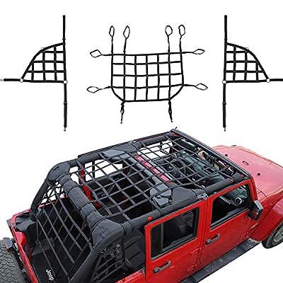 Image of Cargo Nets RT-TCZ Mesh Roof Top Net Restraint Luggage Rack Protective Cargo Net Trunk Net for Jeep Wrangler 2018 2019 2020 JL JLU 4 Door JL Unlimited Rubicon Sahara X Sport 3 PCS3 Pack Black
