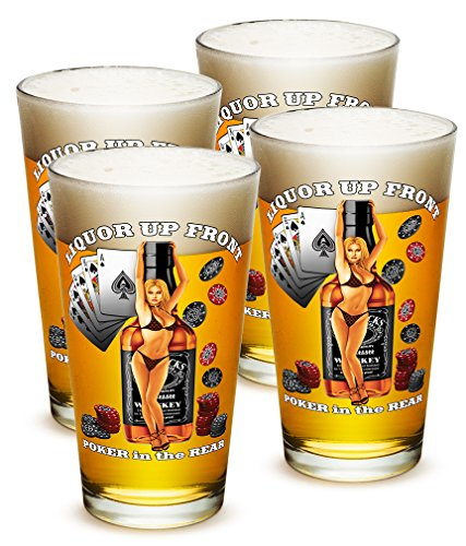 SET OF 4 Liquor Up Front Poker in the Rear 16 Ounce Pint Pub (Pub Poker Set)
