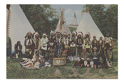 Northwest Indians at a Pow Wow before War Dance (20x30 Premium 1000 Piece Jigsaw Puzzle, Made in USA!) -
