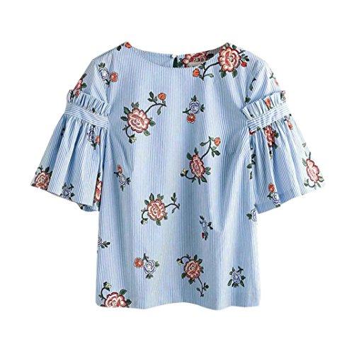 HARRYSTORE Moda de las mujeres mitad de la manga de rayas blusa floral impresa Casual Tops suelta camiseta Azul