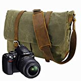 Y-DOUBLE Portable Waterproof Profession Canvas DSLR Digital Camera Bag Casual Shoulder Messenger Bag Travel Photography Bag with Insert & iPad Magazine Pocket for Sony Canon Nikon