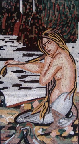 Pool Art Tile Wall (The Mermaid Reproduction Marble Mosiac Stone Art Tiles Bath Wall Pool Decorative / ON SALE)
