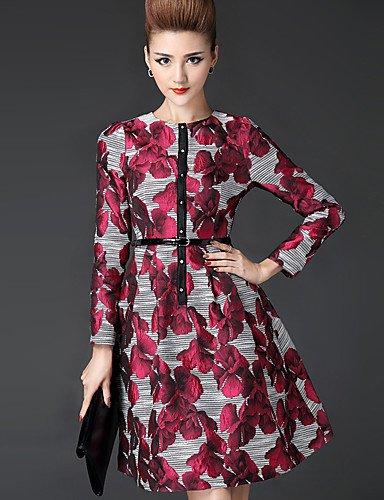 PU&PU Robe Aux femmes Grandes Tailles Vintage / Travail , Jacquard Mao Mi-long Autres , red-2xl , red-2xl