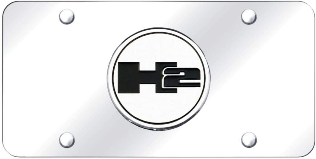 Hummer H2 Black Lettering Mirror Stainless Steel License Plate