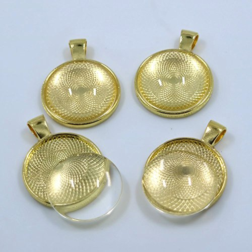 20sets Gold Color 25mm Round Bezel Glass Tile Cabochon-pendant Kit Pendant Charm Cameo Tray Fit DIY