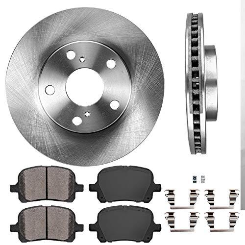 FRONT 274.5 mm Premium OE 5 Lug [2] Brake Disc Rotors + [4] Ceramic Brake Pads + Clips