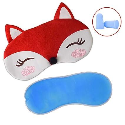 Máscara de dormir de felpa Fox con bolsa de hielo y 2 ...