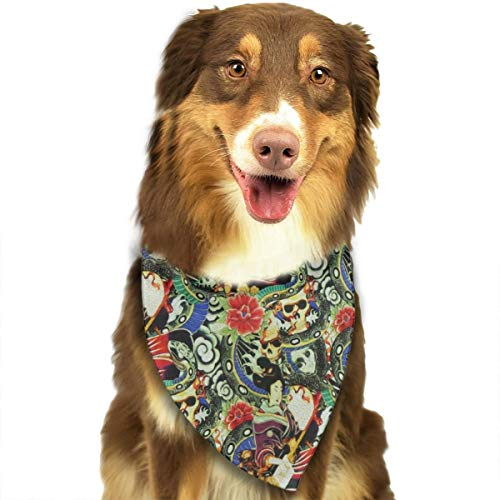 FRTSFLEE Dog Bandana Geisha & Skull Stretch Scarves Accessories Decoration for Pet Cats and Puppies