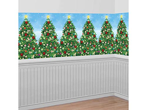 Wonderland Roll Winter Room (Amscan Christmas Decoration Evergreen Wall Scene Setter | Plastic)