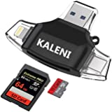 KALENI SD Card Reader,Memory Micro SD Card Reader USB Type C Adapter Viewer for iPhone iPad Android Mac - Supports Lightning Micro USB Type C 4 in 1 (black)