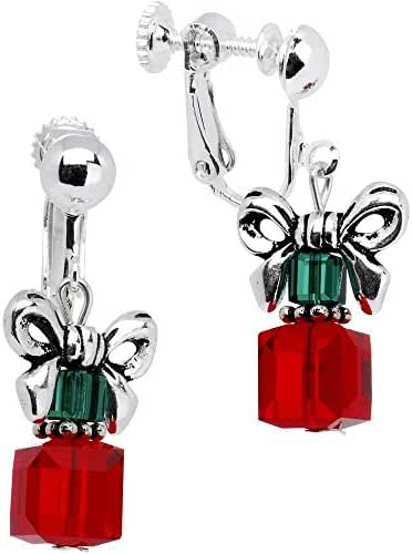 Body Candy Handcrafted Silver Plated Holiday Present Clip On Earrings Created with Swarovski Crystal