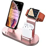 i phone 5 cases and accessories - OLEBR 3 in 1 Charging Stand Compatible with iWatch Series 5/4/3/2/1, AirPods and iPhone 11/Xs/X Max/XR/X/8/8Plus/7/7 Plus /6S /6S Plus(Original Charger & Cables Required) Rose Gold
