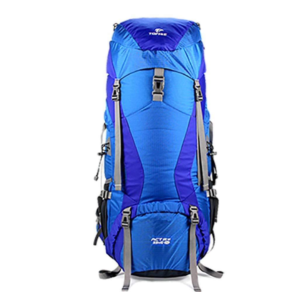 Monilina アウトドアスポーツ防水ナイロン登山バッグハイキングバックパック大容量バッグ (色 : ブルー)  ブルー B07QR299HM
