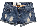 Chouyatou Women's Summer Mid-Rise Perfectly Fit 5 Pockets Ripped Denim Shorts (X-Large, Blue)
