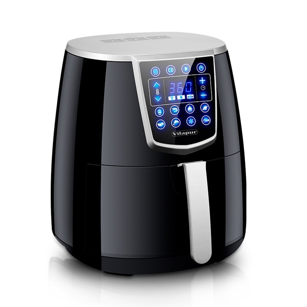 Electric Digital Air Fryer Oil-less Smart Cooker 4.2qt XL Touch Screen Control Non-Stick Fry Basket Dishwasher Safe Black Vilapur