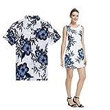 Palm Wave Couple Matching Hawaiian Luau Outfit Aloha Shirt Tank Dress In White Navy Floral Men M Women L