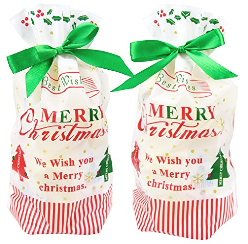 ZEALAX 15-Pack Best Wishes Christmas Candy Bags Plastic Gift Bags Package for Candy Buffet Drawstring Party Favor Goodie Treat Bags Wrapping Decorations, 6 inches x 9 inches