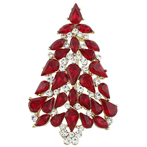 EVER FAITH Party Tree Gift Teardrop Ruby Color Austrian Crystal Brooch Pin Gold-Tone A02339-11