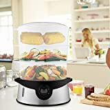 Rapesee 3-Tiers Electric Steam Cooker, Vegetable Healthy Food, Home Kitchen Favor with Timer, 9.5 Quart & 800W