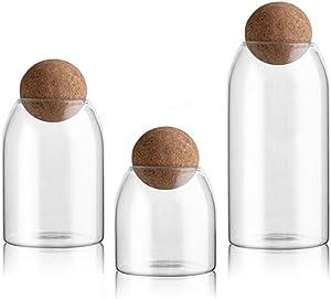 UPKOCH 3Pcs Glass Jars with Airtight Seal Ball Cork Lid Clear Cookie Jars Mason Jars Food Storage Canister for Tea Coffee Spice Sugar Salt (Size S/M/L)