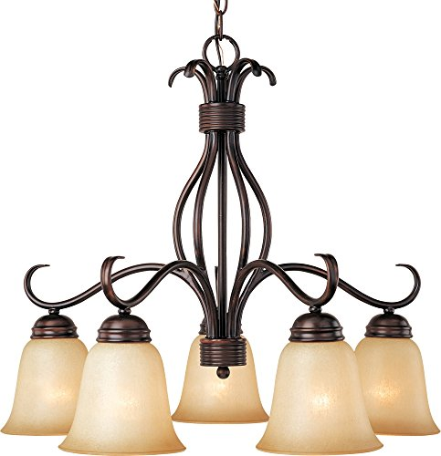 WSOI Basix 5-Light Chandelier Down Light, Oil Rubbed Bronze with Wilshire Glass (Maxim Iron Chandelier)