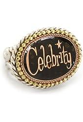 Sweet Romance Celebrity Black Enamel Adjustable Ring