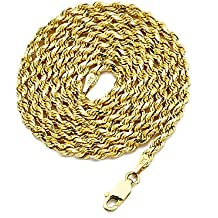 LoveBling 10K Yellow Gold 3mm Solid Diamond Cut Rope Chain Necklace with Lobster Lock