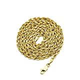 LoveBling 10K Yellow Gold 3mm 22'' Solid Diamond Cut Rope Chain Necklace with Lobster Lock