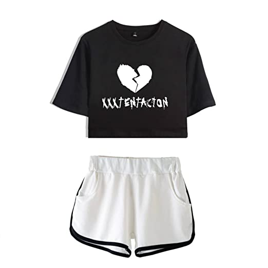 9e22068f2 Unisex RIP Xxxtentacion Rapper 2 Pieces Crop T-Shirt   Shorts Set Exposed  Navel Hip Hop Top Streetwear Broken Heart Design  Amazon.co.uk  Clothing