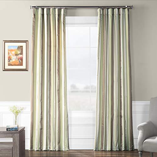 Pts-SLK38-108 Luxury Faux Silk Stripe Curtain, 50 x 108, Cardiff ()