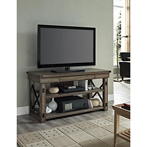 ModHaus Living Modern Industrial Rustic Wood and Black Metal TV Stand - for Televisions up to 50 inches Includes (TM) Pen (Bookcase Lcd Tv)