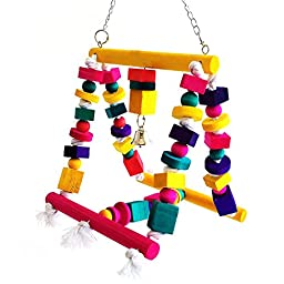 Rypet Bird Swing, Colorful Bird Chew toy Moveable Wood Bird Cage Toys for Small to Medium-sized Parrot