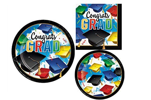 Graduation Paper Plates - Graduation Party Supply Pack for 8 Guests - Bundle Includes Paper Plates and Napkins in a Grad Celebration Design