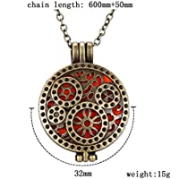 1pcs Retro Bronze Locket Essential Oil Aromatherapy Diffuser Necklace Pendant