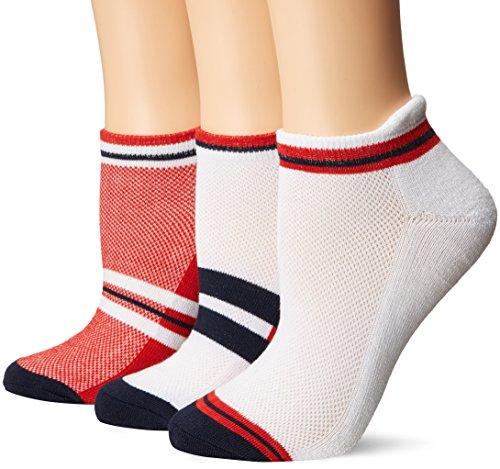 LPGA socks & Legwear Womens LPGA Color Collection 3-Pair-White/Red/Blue-9 to 11, Red, 9-11 by LPGA SOCKS and LEGWEAR (Image #1)