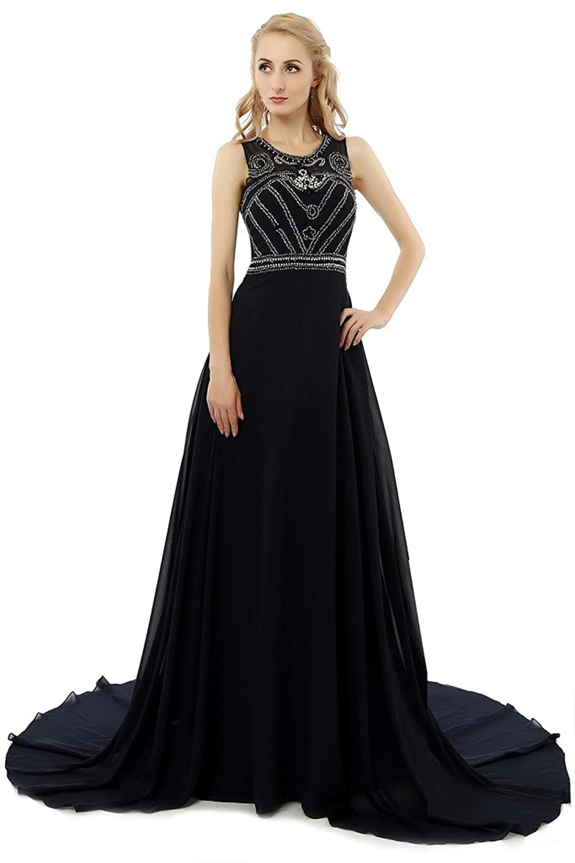 HONGFUYU Women's Elegant Long Prom Dresses Formal Chiffon Black Evening Gowns